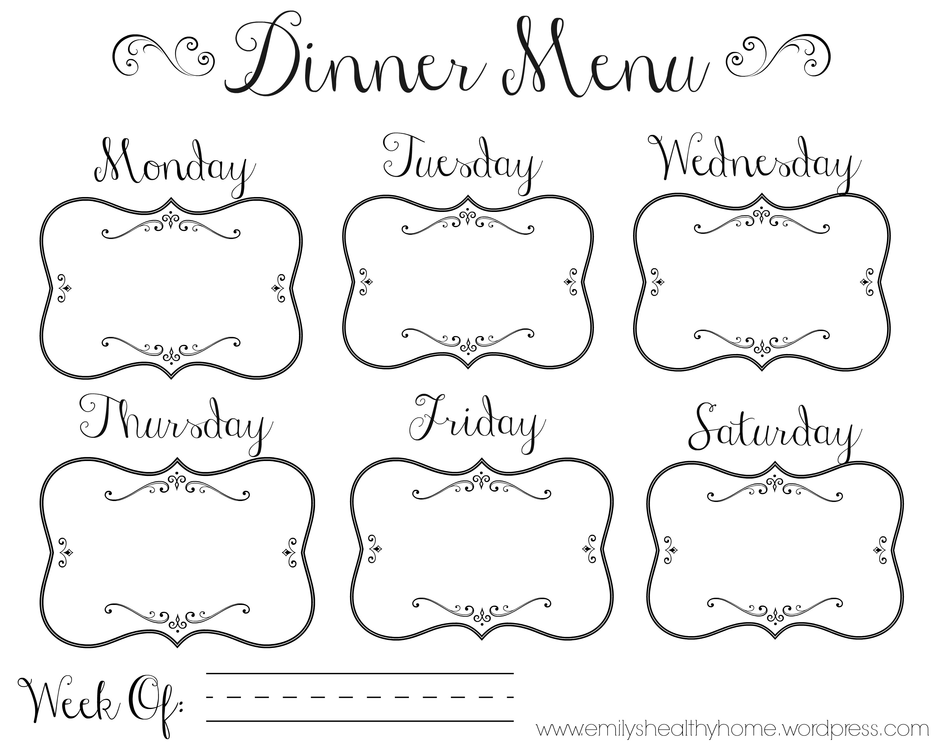 Invaluable image in blank printable menu